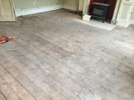 before floor restoration