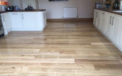 Oak floor restoration work after sand damage